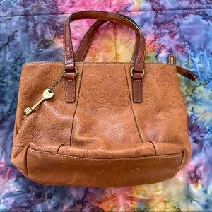 Fossil brown leather small hand bag